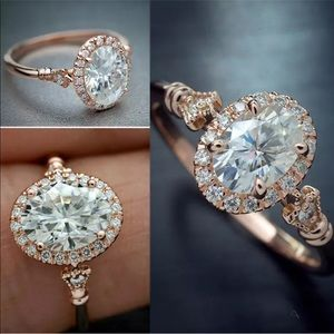Rose Gold Filled Oval White Sapphire Wedding Ring